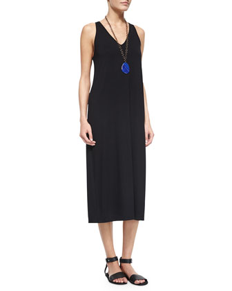 V-Neck Racerback Jersey Midi Dress, Black