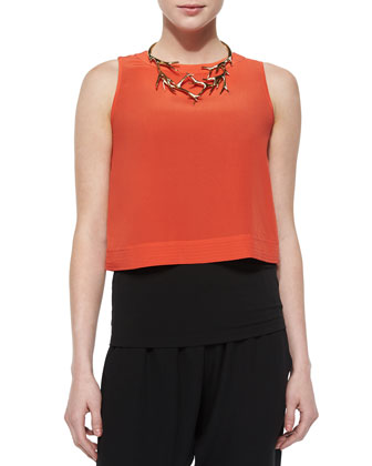 Button-Back Silk Crop Shell, Silk Jersey Long Slim Camisole & Cropped ...