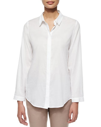 Long-Sleeve Voile Trapeze-Back Shirt
