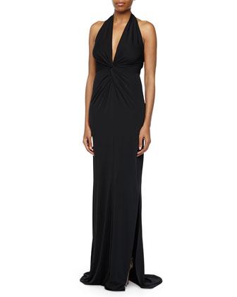 Twist Front Halter Gown, Black