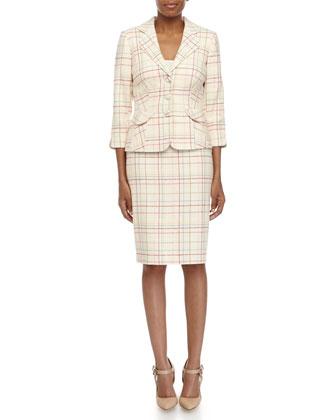 Plaid Knit Jacket & Pencil Skirt Suit, Cream Multi