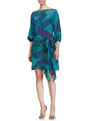 Draped-Back A-Line Dress, Midnight Water