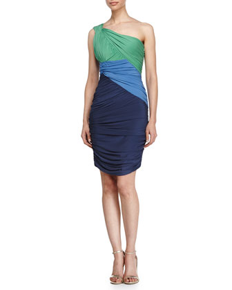 One-Shoulder Colorblock Dress, Light Loden/Cerulean