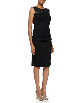 Sleeveless Dress with Laser-Cut Detail, Black