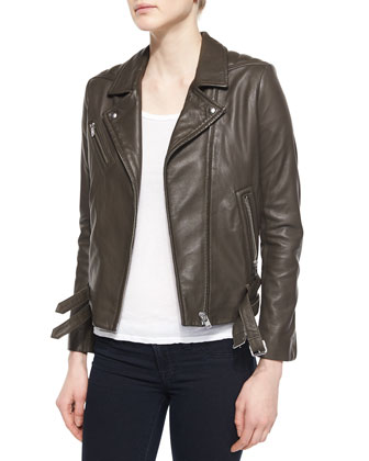 Jones Lambskin Jacket & Leticia Wrap-Front Dress