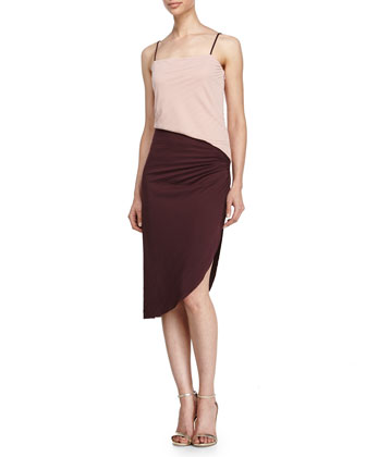 Colorblock Pleated Dress with Side Slit, Dusty Pink/Aubergine