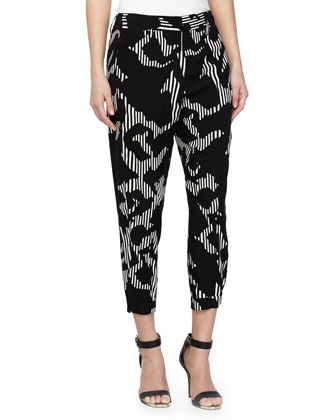 Printed Cropped Pants, Black/Chalk Rose
