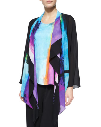 Bright Border Print Waterfall Jacket, Longer Tank & Stretch-Knit Wide-Leg Pants