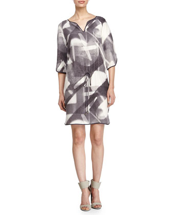 Tie-Waist Printed Dress, Lead Specular