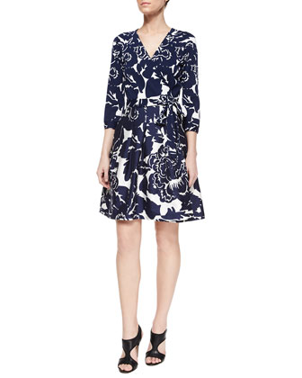 Giant Floral-Print Wrap Dress