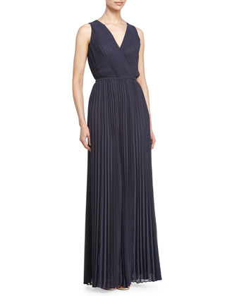 Sleeveless Pleated Gown, Moonshadow