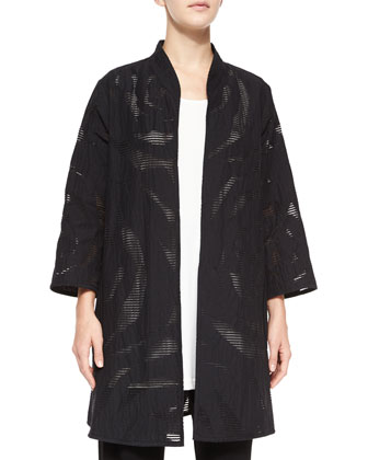 Rose Jacquard A-line Jacket, Knit Tunic/Tank & Stretch-Knit Straight-Leg Pants