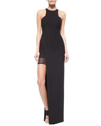 Tegan High-Slit Chiffon Maxi Dress, Black