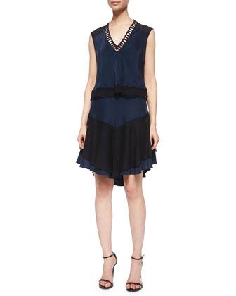 Layered Ladder-Stitch Dress, Black/Navy