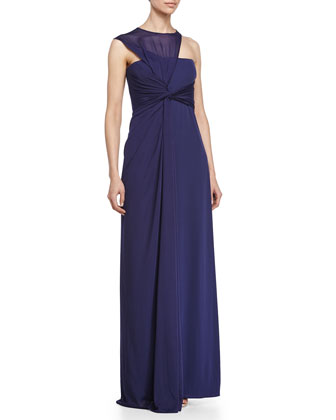 Asymmetrical Side-Drape Gown, Astral Blue
