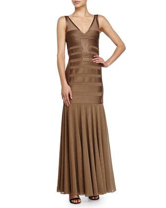 Sleeveless V-Neckline Illusion Gown, Bronze