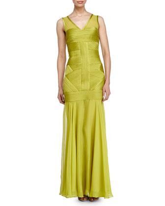 Sleeveless Illusion Gown, Apple Green