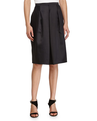 Front-Pleated A-Line Skirt, Black