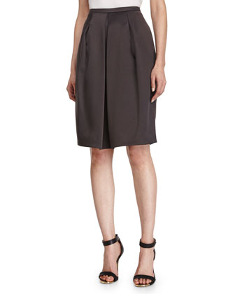 Front-Pleated A-Line Skirt, Charcoal