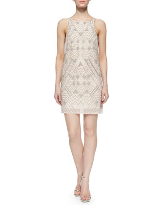Monaco Beaded Open-Back Shift Dress, Plush