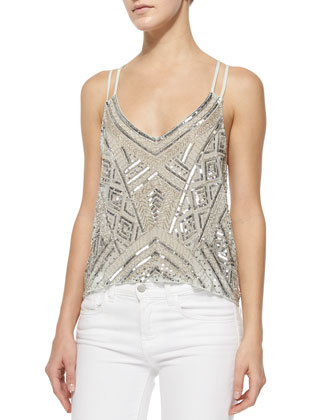 Knox Patterned Sequin Tank, Cabana