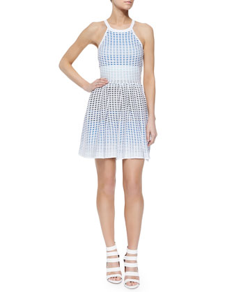 Lorraine Square-Print Knit Dress, Blue/White