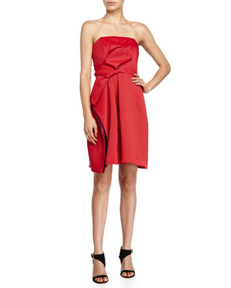 Strapless Colorblock Cocktail Dress, Crimson/Boysenberry