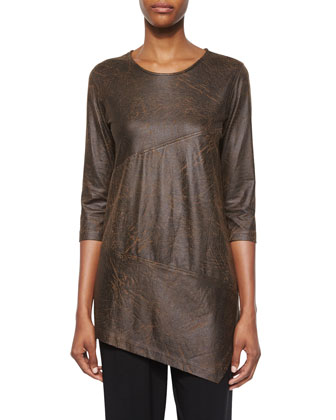 3/4-Sleeve Distressed Faux-Suede Tunic, Women's