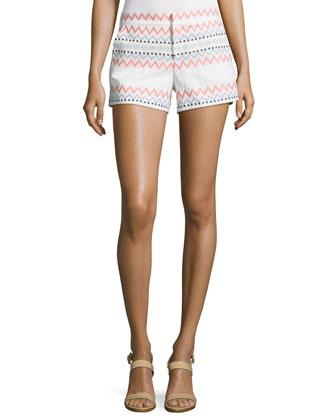Riley Mixed-Zigzag-Stripe Shorts