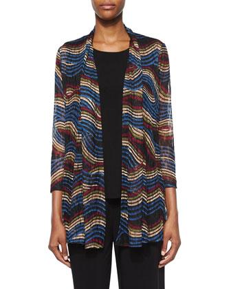 Wavy-Print Lace Cardigan, Stretch Knit Long Tank & Stretch-Knit Wide-Leg ...