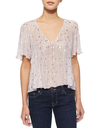 Anthony Ruffle-Trim Beaded Blouse, Wisp