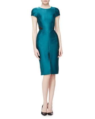 Cap-Sleeve Leather-Inset Day Dress, Jade