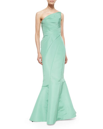 Strapless Ruched-Waist Mermaid Gown