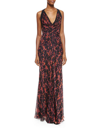 Ikat-Print Ruched Chiffon Gown