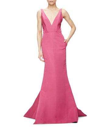 Sleeveless V-Neck Silk Faille Gown, Super Pink