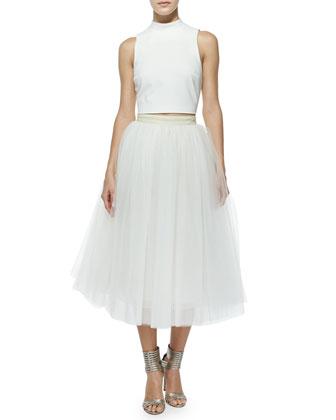 Avita Cropped Ponte Top & Everleigh Tulle Circle Skirt, Ivory