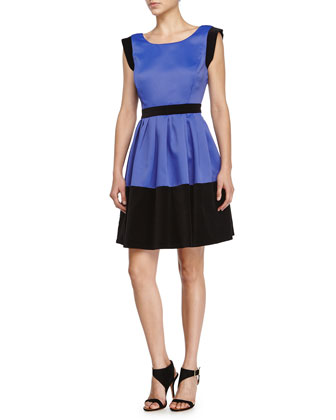 Scoop-Neck Colorblock Dress, Royal Blue/Black