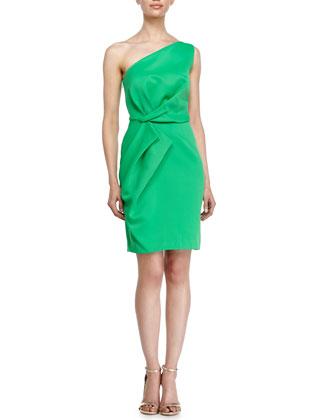 One-Shoulder Folded-Detail Dress, Grass