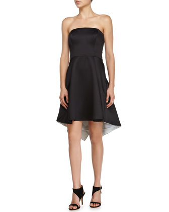 Strapless Colorblock Cocktail Dress, Black/Chalk
