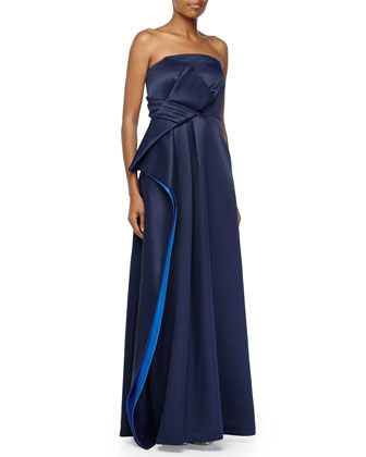 Strapless Two-Tone Pleated Gown, Navy/Sapphire