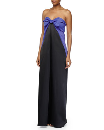 Two-Tone Column Gown, Royal Blue/Black