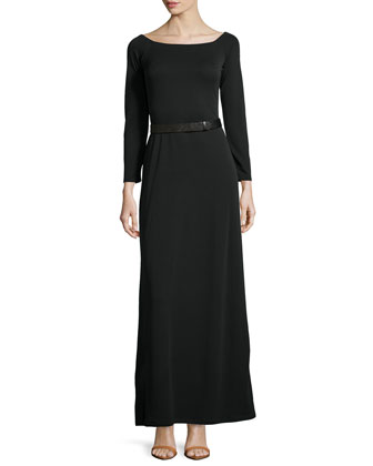 Long-Sleeve Off-The-Shoulder Gown, Black
