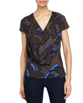 Cap-Sleeve Printed Blouse, Bright Cobalt