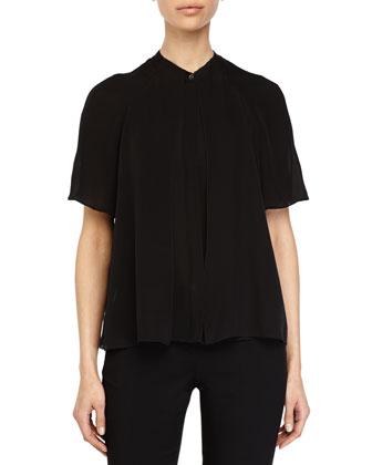Short-Sleeve Button-Front Blouse, Black