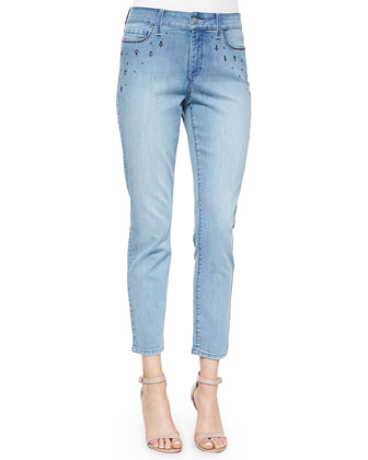 Kimora Rhinestone-Pocket Skinny Ankle Jeans