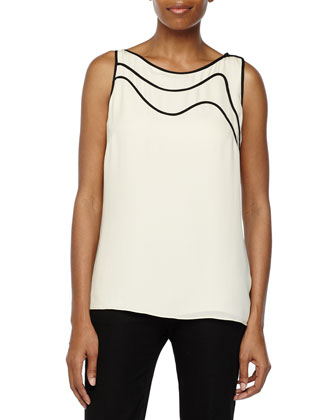 Sleeveless Top with Piping Detail, Cream/Black
