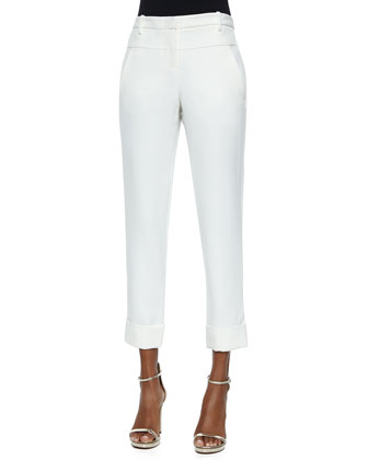 Skinny Cuffed-Hem Pants, Bone