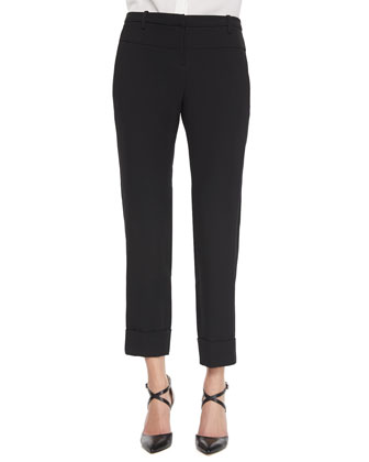 Skinny Cuffed-Hem Pants, Black