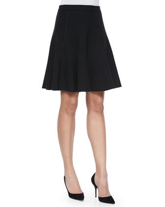 Circle Skirt with Seam Detail, Black