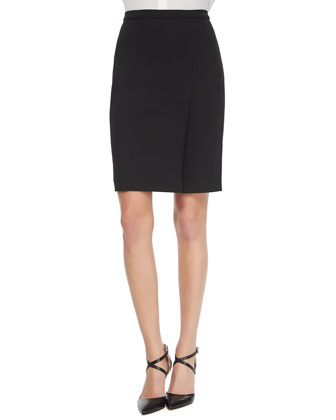 Double-Faced Pencil Skirt, Black